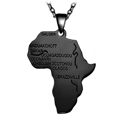 Collar Colgante del Mapa de África para Las Mujeres de los Hombres al por Mayor de joyería de Etiopía Africana joyería Mapas de Hiphop