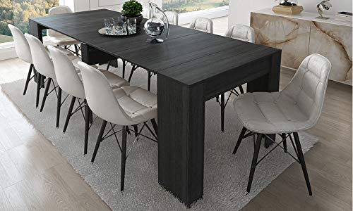 Home Innovation - Table Console Extensible, rectangulaire avec rallonges, jusqu'à 237 cm, pour Salle à Manger et séjour, Couleur Grise. Jusqu´à 10 Personnes. Dimensions fermée : 90x50x78 cm.