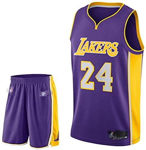 Camiseta De Baloncesto para Hombre Kobe No. 24 Los Angeles Lakers Traje De Baloncesto Deportivo Malla Transpirable Swingman Jersey Chaleco Pantalones Cortos Traje,B-3XL