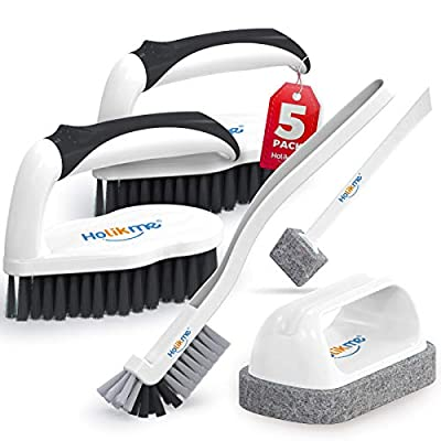 Holikme 5 pack Deep Clean Brush Set,Scrub Brush&Grout and Corner brush&Scrub pads with Scraper Tip&Scouring pads,for bathroom,Floor, Tub, Shower, Tile, Bathroom and Kitchen Surface(Black)