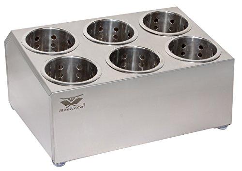 Beeketal 'BBK-6' Profi Gastro Besteckbehälter aus Edelstahl poliert inkl. 6 Köcher zweireihig, entnehmbare Besteck Köcher, Oberfläche leicht abgeschrägt - Abmessung (L/B/H): ca. 385 x 355 x 200 mm