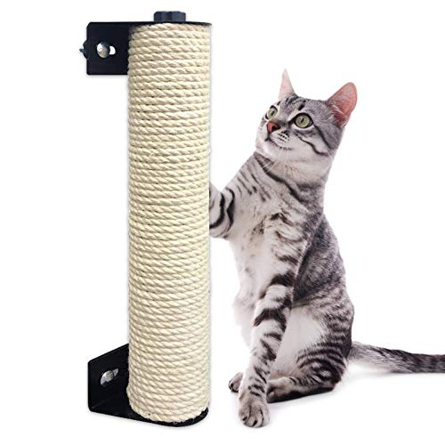 Beetech Rascador de gato para gatos montado en jaula, ahorra espacio, sisal rascador para gatos y escalada