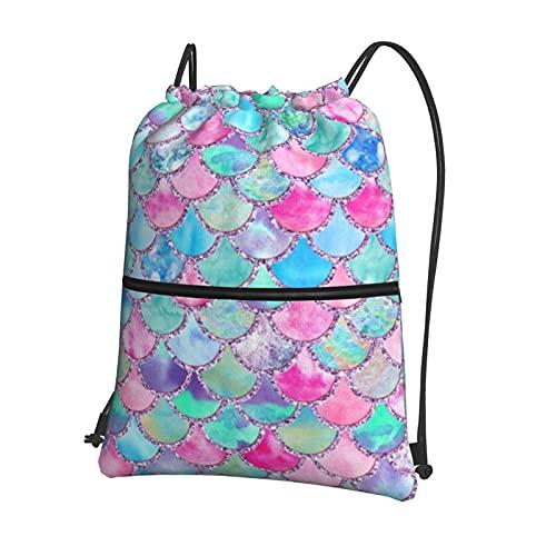 Mochila con cordón, bolsa de gimnasio, mochila deportiva con bolsillo con cremallera para hombres y mujeres, yoga, correr, senderismo, atlético, colorido, rosa y azul, básculas de sirena con p
