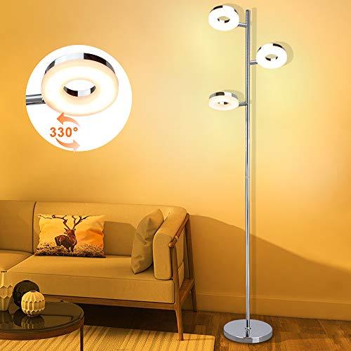 Lampadaire LED chromé 3 x 4 W 3000 K blanc chaud lampe de sol rotative standard avec couvercle de lampe en plastique, lampe de lecture en forme de coffre pour salon, chambre, chevet, bureau