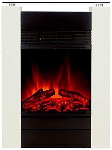El Fuego Tessin weiß Elektrokamin mit täuschend echtem Flammeneffekt, 1800 W, 230 V