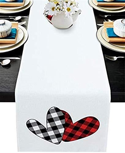 VJRQM Chemin de Table de Cuisine en Toile de Jute Long Chemin de Table antidérapant pour Table de Cuisine de Bureau Familial,Happy Valentine's Day Black Plaid Red Checkered Love Heart,13x70inch