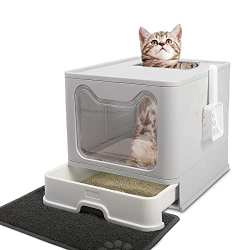 Foldable Cat Litter Box with Lid, Extra Large Covered Cat Litter Box with Litter Mat and Scoop, Enclosed Kitty Litter Box, Easy to Clean Litter Pan