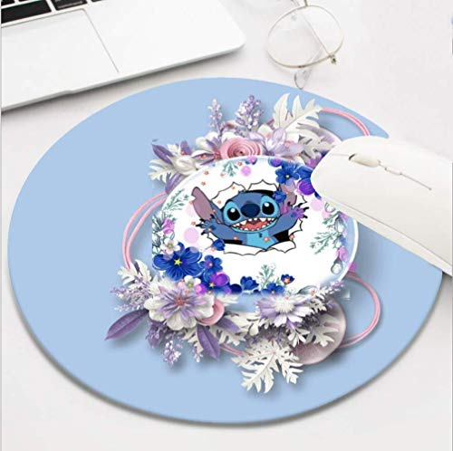 Gaming Mouse Pad Waterproof Mousepads with Non-Slip Rubber Base for Laptop Desktop Computer,Size 8 INCH - Lilo Stitch Pink Blue Flower