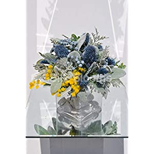 Silk Blooms Ltd Artificial Pale Blue Thistle and Yellow Mimosa Flower Arrangement w/Foliage and Glass Cube