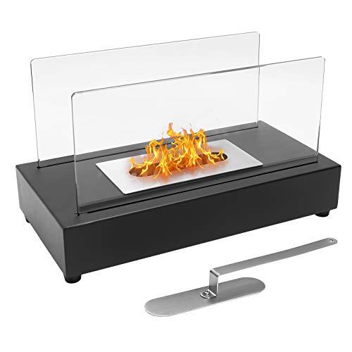 Tisch Ethanol Feuerstelle, Indoor Outdoor Tragbare Feuerschale Pot Ventless Kamin, Rechteck, Schwarz