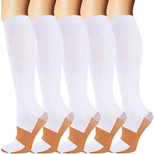 5 Pairs Copper Compression Socks for Women and Men(20-30 mmHg) - Best Medical for Running Athletic Nurses Pregnancy Flight Travel(White, S/M)