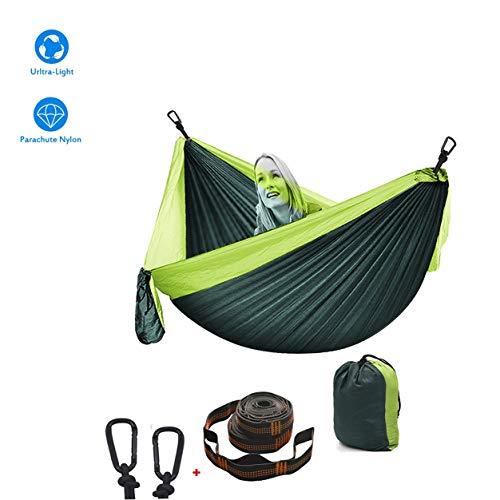 Hamaca Para Acampar 2 Mosquetones Premium 2 Correas De Nylon Hamaca Que Acampa Nylon De Paracaídas Transpirable Ideal Para Viaje Jardín, Camping ( Color : Dark green+light Green , tamaño : 260*140cm )