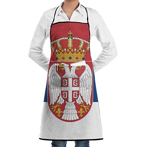 Küchenchef Lätzchen Schürze serbische Flagge Hals Taille Krawatte Center Tasche wasserdicht