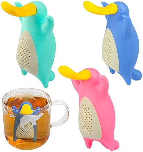 Silicone Tea Infuser Set for Loose Tea Tomorotec Cute Animal Tea Strainer Duckbill 3 Pack product image