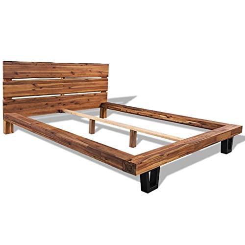 vidaXL Acacia Maciza Cama Matrimonio Mueble Dormitorio Habitación Durabilidad Mueble Mobiliario Individual Almohada Cómoda 180x200 cm
