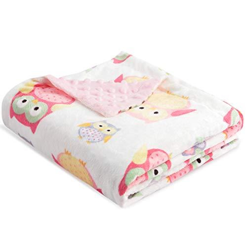 Boritar Babydecke zweiseitige Minky mit gepunktetem Rücken Super weichem Für Mädchen, Schöne rosa Eulen, 75x100cm