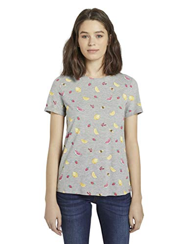 TOM TAILOR Damen Sommerprint T-Shirt Bluse, 21419-grey Fruit Design, L