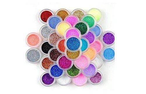 XI CHEN®, polvere decorativa glitter per nail art in 24 colori
