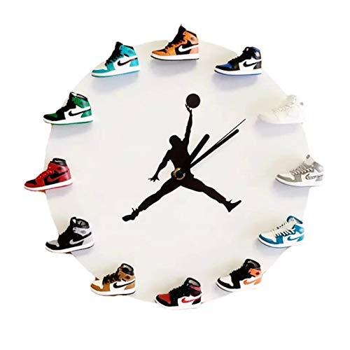 WANGT Reloj De Pared con Zapatillas 3D, Patadas Decorativas DecoracióN Elegante, Regalo Deportivo para Un Amigo,Blanco,C