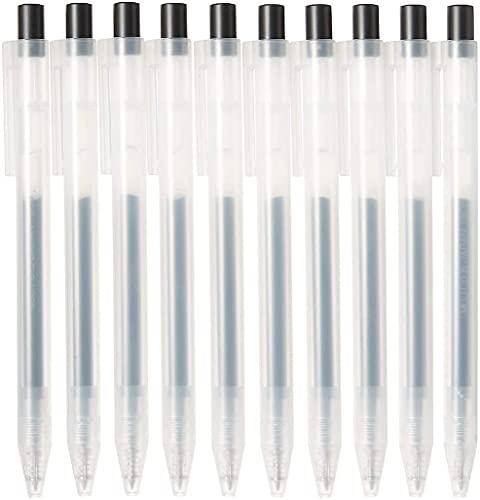 Muji 4550182902273 Smooth Set di 10 Penna a Sfera con Inchiostro Gel, Pennino da 0.5 mm, Nero