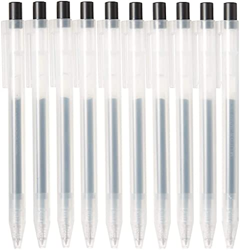 MUJI Suave Tinta de Gel Bolígrafo Pluma Tipo de Golpe 10-Piezas Juego, 0.5 mm Tamaño Punta, Negro (4550182902273)