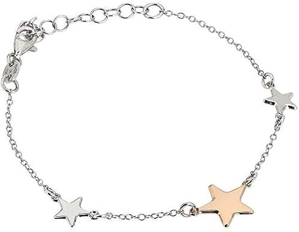 Boccadamo ,bracciale per donna,bracciale in argento rodiato con stelle laterali,centrale placcata oro rosa SE_BR02