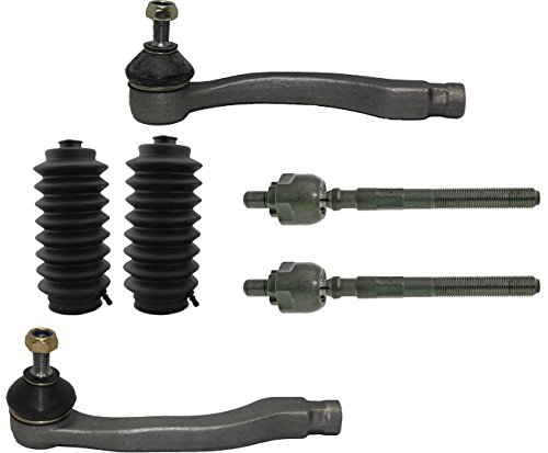 PartsW 6 Pcs Inner & Outer Tie Rod Ends + Rack and Pinion Bellow Boot