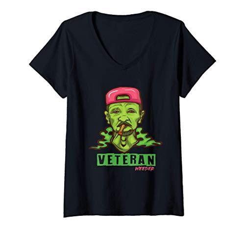 Mujer Veteran Weader Marihuana Regalo de marihuana Camiseta Cuello V
