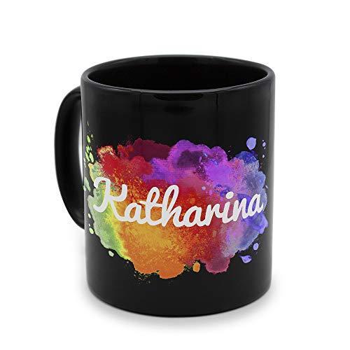 printplanet - Tasse Schwarz mit Namen Katharina - Motiv: Color Paint - Namenstasse, Kaffeebecher, Mug, Becher, Kaffeetasse
