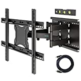 1homefurnit 壁掛けテレビ 金具 テレビ壁掛け金具 37-80インチLCD/LED/PLASMA/OLED対応 大型 耐荷重65kg チルト&スイベル可能 VESA600x400mmまで フルモーションデュアルアーム 1.8mHDMIケーブル付き