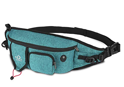 WATERFLY Fanny Pack Large Size Waist Bag Hip Pack for Men Women Travel or Running Walking (Teal Blue-01)
