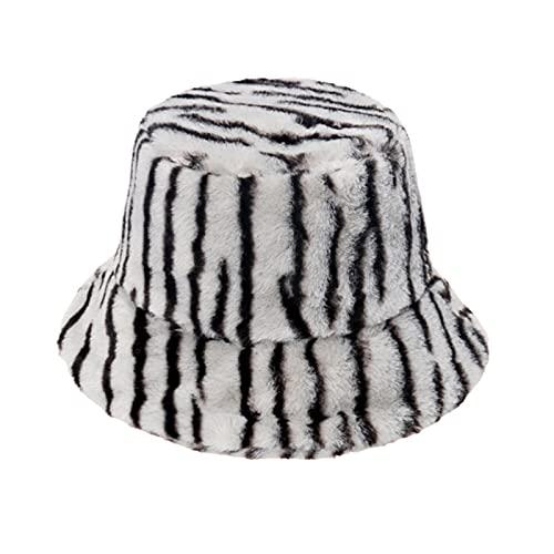 QHMAB Women's Winter Furry Zebra Grain Fleece Fisherman hat to Keep Warm and Leisure Rabbit Down Bucket hat Fluffy (Color : Grey, Size : M)