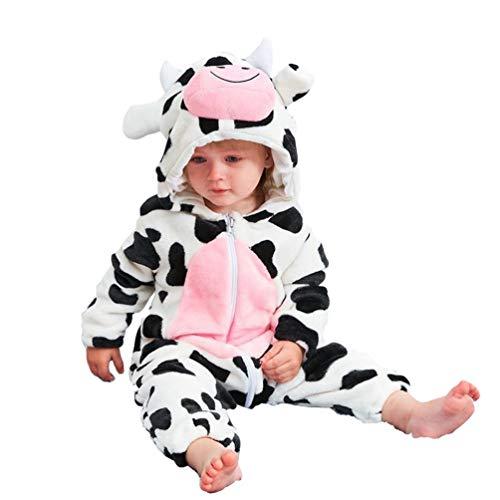 LvRao Bambino Pagliaccetto in Flanella Ragazze Ragazzi Pigiama Caldo Costume Animale con Cappuccio Tuta 0-36 Mesi (Mucca, 80cm)