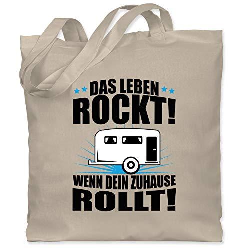 Shirtracer Hobby - Das Leben rockt! Wohnwagen schwarz - Unisize - Naturweiß - wohnwagen accessoires - WM101 - Stoffbeutel aus Baumwolle Jutebeutel lange Henkel