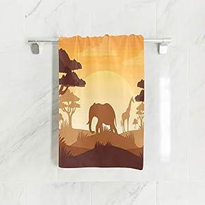 senya Towels, Elephant and Giraffe in The Sunset Soft Hand Towel for Bathroom, Kitchen, Hotel spa