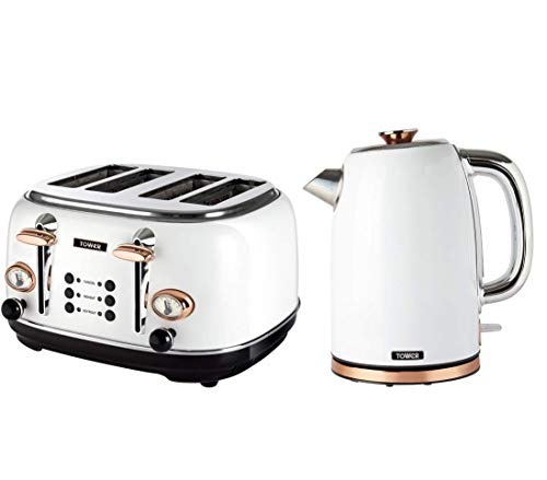 Tower Bottega T10023W Rapid Boil Kettle and Tower Bottega T20017W 4-Slice Toaster, White and Rose Gold