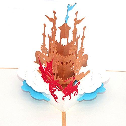 Medigy Carte d'Anniversaire Faite à Main 3D Pop Up Kirigami Creux Château du Chevalier Pliable Carte Postale de Voeux pour Anniversaire Mariage Saint Valentin avec Enveloppe