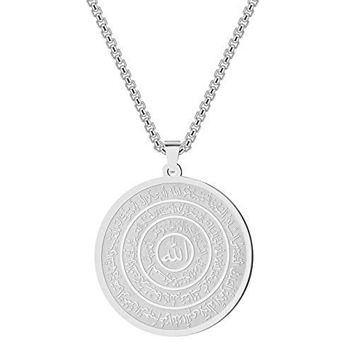 Collar de Arabia islámica de acero inoxidable para hombres y mujeres, collares con colgantes de amuleto de ojo egipcio