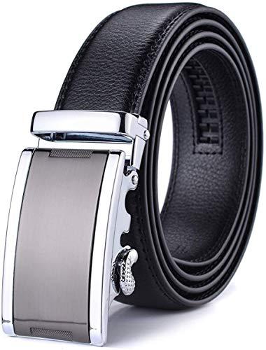 WETOPER Herren Gürtel Ratsche Automatik Gürtel für Männer 35mm Breit Ledergürtel, Type:01, Länge 130cm Geeignet für 28-45 taille