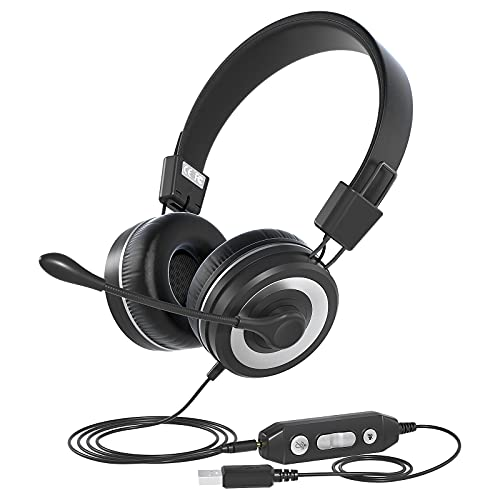 USB Headphone with Microphone, Hi-fi Stereo Computer Headset, in-line Controls for Volume & Mic Mute, Noise Cancelling Mic & Adjustable Mic Boom for PC & Mac, Perfect for Classroom, Home, Office