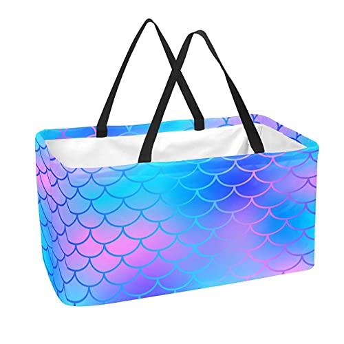 Bolsa de supermercado reutilizable Contenedores de almacenamiento grandes de 50L Cesta de compras Bolsas de mano Escala de pescado Azul ensueño Color rosado Sirena