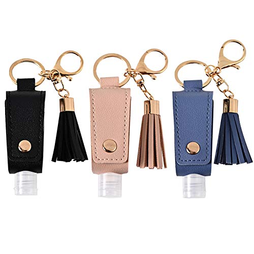 Portable Empty Travel Bottle Keychain Hand Sanitizer Bottle Holder 3 Pack 1oz / 30ml Small Squeeze Bottle Refillable Containers for Toiletry Shampoo Lotion Soap (Black+Pink+Blue)