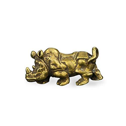 YGAKX Hecho a Mano de Cobre Puro sólido Retro latón Envejecido Lindo Rinoceronte té Mascota Juego de té Adornos Piezas de Juego