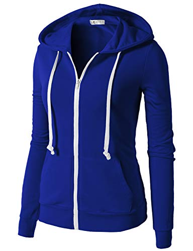 H2H Womens Lightweight Zip Up Long Sleeve Hoodie Jacket BLUE US XL/Asia XL (CWOHOL020)