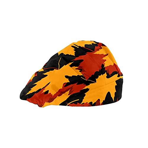 Gorra de mujer para cabello largo Trabajo sombrero con banda elástica ajustable de trabajo gorras para hombres Trabajo cabeza bufanda 3D impreso sombreros rojo amarillo hojas de arce