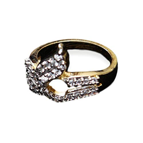 CaratYogi Polki Ring Pear Cubic Zircon White Intricately Handcrafted in Yellow Gold Plated Royal Looking Jewellery for Girls Ladies Women MSR 19