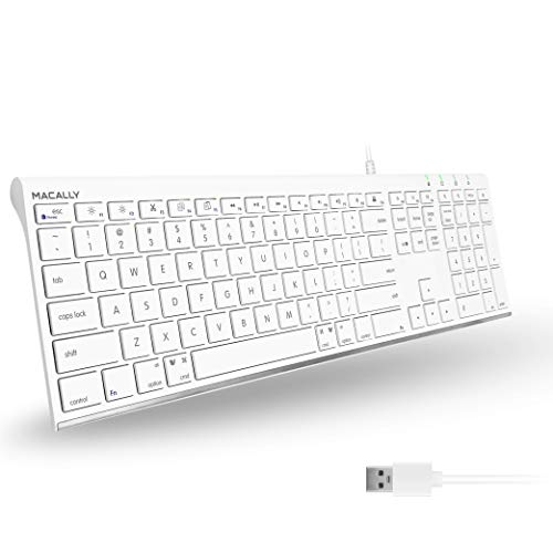 Macally Ultra Slim USB Wired Computer Keyboard - Works as Windows or Mac Wired Keyboard - Full Size Keyboard with Numeric Keypad & 20 Shortcut Keys - Plug and Play Mac Keyboard - White