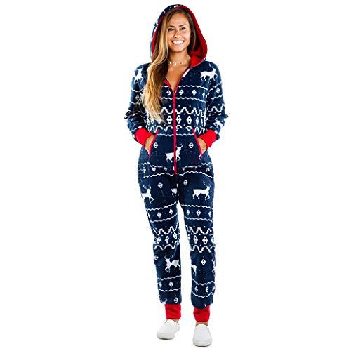 Weihnachten Jumpsuit Damen, Herren Rentier Lustig Paare Einteiler Weihnachtspyjama Outfit Frauen Christmas Pyjamas Overall Kapuzen Schlafanzüge Hausanzug Ganzkörperanzug mit Reißverschluss (10,M)