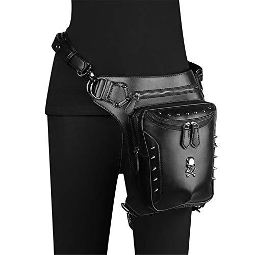 Riñonera Punk Hip Bag Bolsas de Cintura Steampunk PU Cuero Gótico Bolsa Hombres y Mujeres Senderismo Fanny Pack Mini Bolsillos de Viaje Bolsa de Cuero (Color : Black, Size : One Size)