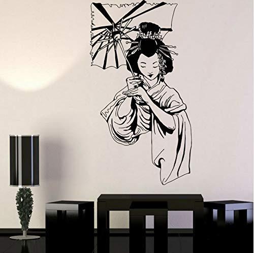 Meisje Paraplu Aziatische Stijl Stickers Vinyl Home Decor Muursticker Verwijderbare Interieur Mural Vrouw met Paraplu 42x76cm
